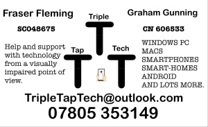Triple Tap Tech contact info. Fraser Fleming. Graham Gunning. The Renfield centre 260 Bath Street Glasgow G2 4JP 0141 3531567 TripleTapTech@outlook.com
