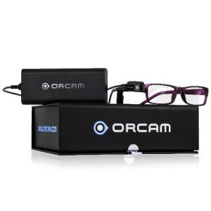 Orcam device attached to a set of glasses
