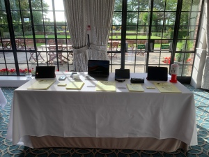 Info stall all set up with lots of tech to try out.