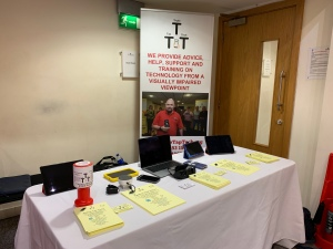 Our info stall set up in the Mitchell Library Glasgow.