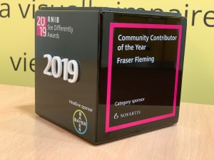 The rnib see Differently Awards trophy that was given to Fraser for community contribution of the year 2019.